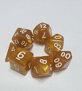 Kit Dados RPG - Dourado e Branco Perolado