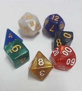 Kit Dados RPG - Misto Perolado