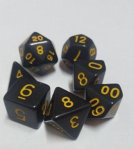 Kit Dados RPG - Preto e Dourado Liso