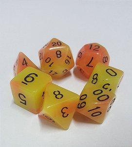 Kit Dados RPG - Laranja e Amarelo Liso Fluorescente