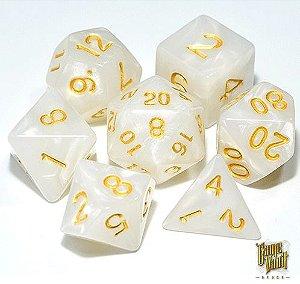 Kit Dados RPG -Branco e Dourado Perolado