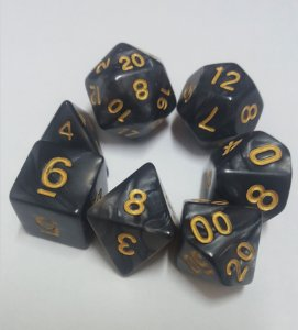 Kit Dados RPG -Preto e Dourado Perolado