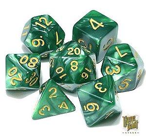 Kit Dados RPG - Verde e Dourado Perolado