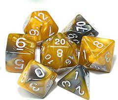 Kit Dados RPG - Dourado e Marrom Perolado