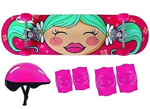 skate infantil com kit proteção rosa