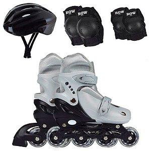 patins roller infantil ajustável número 34 ao 37 com kit proteção