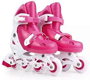 patins roller infantil número ajustável do 34 ao 37 com kit proteção