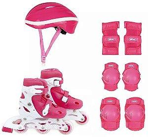 patins roller infantil número 30 ao 33 com kit proteção