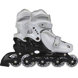 patins Roller Row cinza Infantil Regulável Do 34 A 37 Mor
