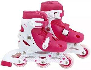 Patins roller infantil criança rosa número ajustável 30 ao 33 mor