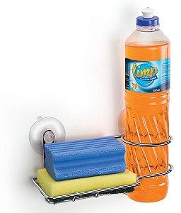 Suporte porta detergente e esponja bucha parede com ventosa