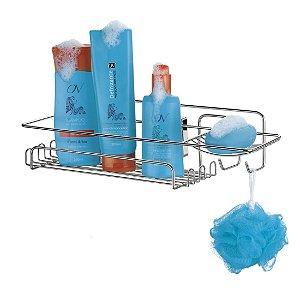 Suporte Porta Shampoo Sabonete Com Ventosa Aço Cromado
