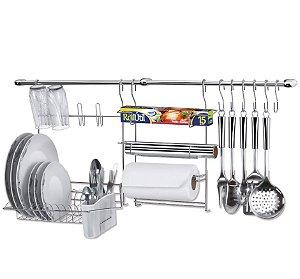 Suporte para utensílios na parede com escorredor cook home 9 11 peças