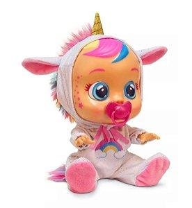 Boneca cry babies unicórnio dreamy chora com som e lagrima