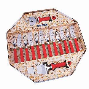 Kit para pizza 14 peças faca garfo cortador tramontina