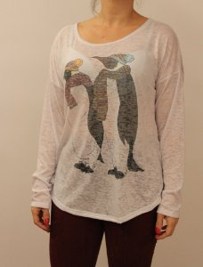 T-shirt manga longa com estampa do Pinguim