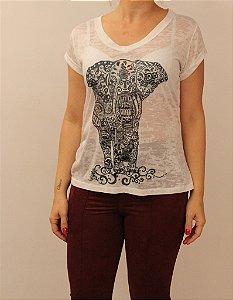 T-shirt manga curta com estampa elefante monocromático