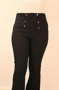 Calça feminina modelagem flare , cintura alta com botões na cor preta DIVINA
