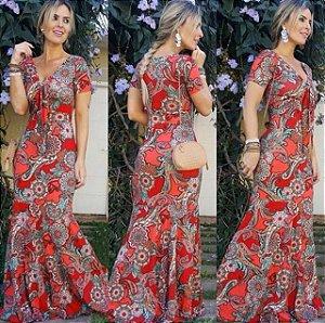 Vestido sereia com estampa maravilhosa em tons de vermelho (TAMANHO PLUS SIZE - VESTE DO 42 AO 46)