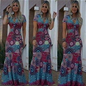 Vestido longo estampa psicodélico (PLUS SIZE - veste do 42 ao 46)