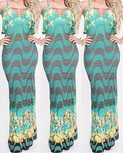 Vestido longo estampa Copacabana com babado e detalhe em tule