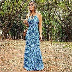 Vestido longo sereia com estampa homogênea azul