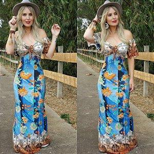 Vestido sereia longo blue flower 2