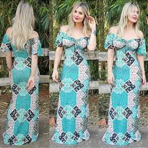Vestido sereia longo geometric Green