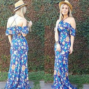 Vestido longo sereia estampa mega linda azul floral com tirinhas nas costas