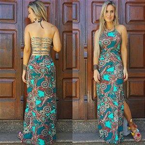 Vestido longo verde estampado muito lindo com tiras nas costas