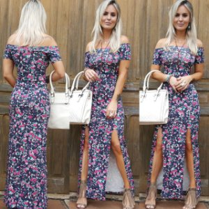 Vestido longo linda com estampa super verão