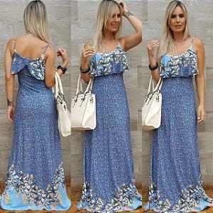 Vestido longo azul com babado e estampa em tons de azul