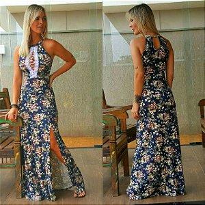 Vestido longo azul floral com decote deslumbrante