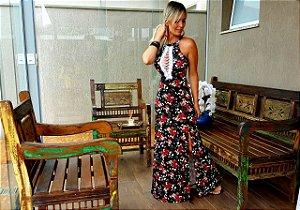 Vestido longo black floral com decote deslumbrante