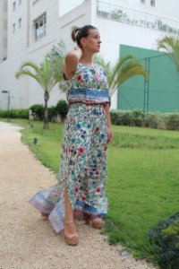 Vestido longo estampado summer flowers