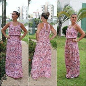 Vestido longo com estampa rosê linda de viver