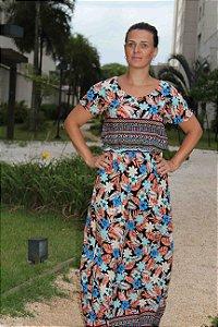 DUPLICADO - Vestido longo com estampa indian gree