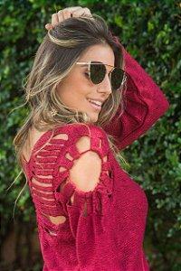 Blusa em tricot com detalhes incriveis