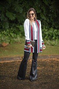 Maxi cardigan offwhite com faixa Red blue