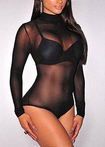 Body preto com transparência
