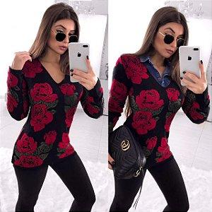 Tricot maravilhoso black com rosas