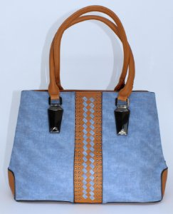 Bolsa azul jeans com detalhes em couro eco caramelo com duas aberturas