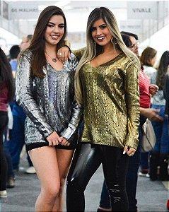 Blusa tricot metalizada prata ou dourado