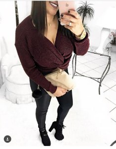 Blusa em tricot em nó na cor marsala