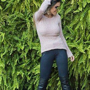 Blusa em tricot bata de modal rosê