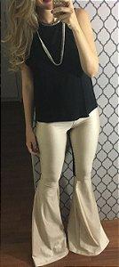 Disco pants flare na cor perola
