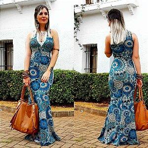 Vestido longo mandala na cor azul