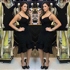 Vestido com lacinho na cor azul preto