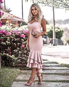 Vestido com babadinho na cor rosê