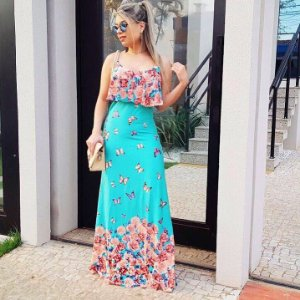 Vestido longo estampa borboleta